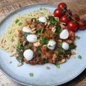 VEGA: spaghetti Bolognese met linzen, spinazie en mozzarella
